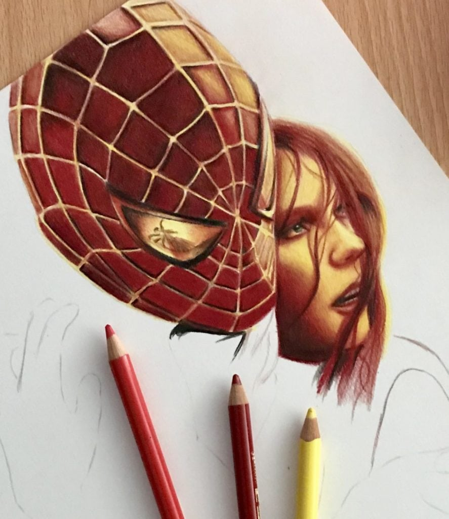 Spider-Man with colored pencils