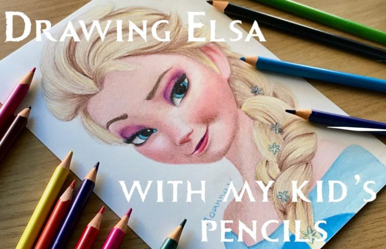 Drawing Elsa with my kid's pencils