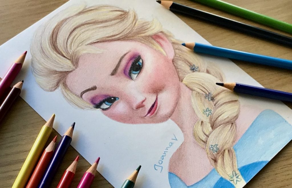 drawing elsa with my kid s pencils ioanna ladopoulou art design