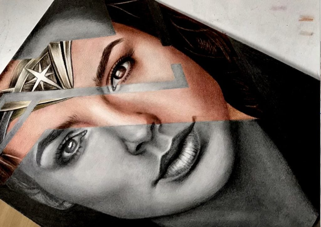 Drawing WonderWoman - colored parts