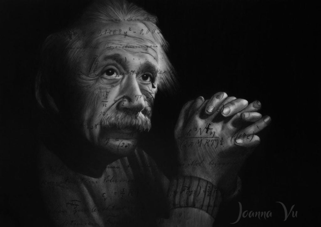 Albert Einstein Double Exposure Drawing