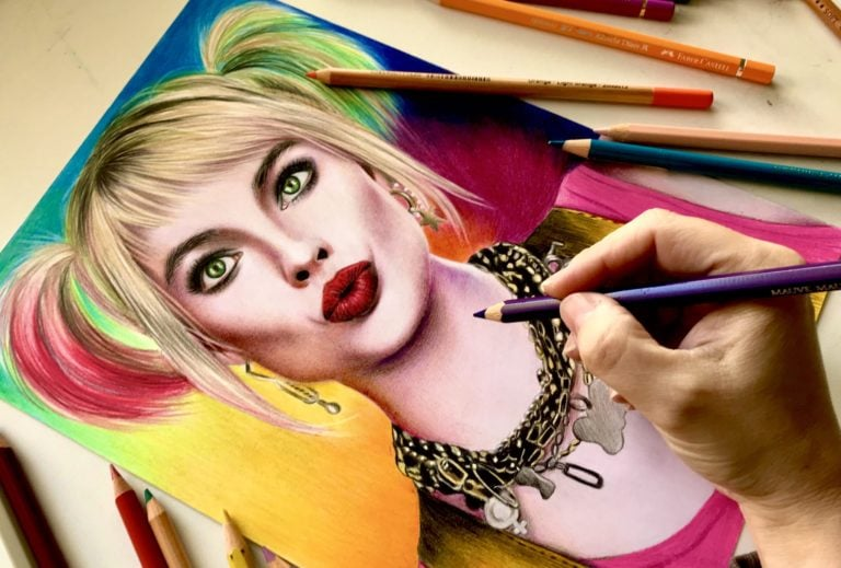 drawing Margot Robbie as Harley Quinn