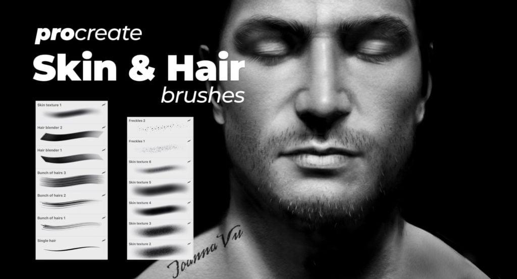 Skin + Hair Brushes - procreate bushes - portfolio - Ioanna Ladopoulou