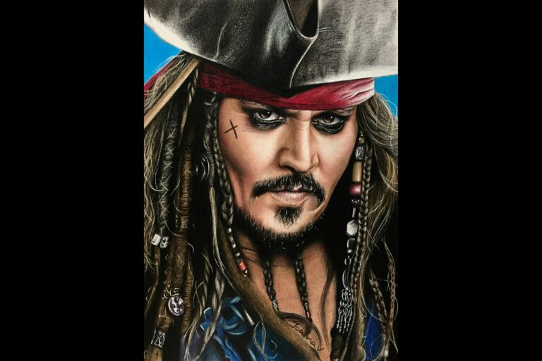 Captain Jack Sparrow - colored pencils - portfolio - Ioanna Ladopoulou