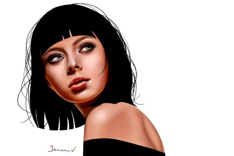 Female portrait - procreate painting - portfolio - Ioanna Ladopoulou